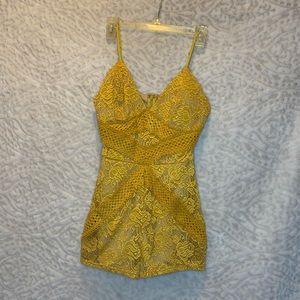 Miss Avenue Gold Lace Romper